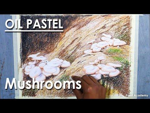 Oil Pastel Composition : Mushrooms