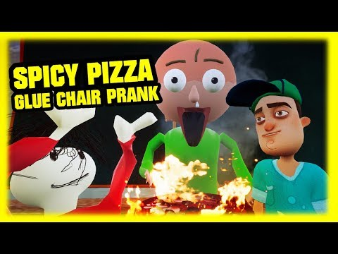 SPICY PIZZA GLUE CHAIR PRANK | Hello Baldi's Basics