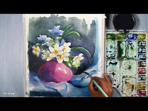 How to Paint A Beautiful Flower Vase in Watercolor