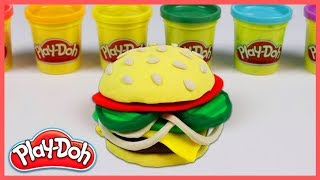 Making Hamburger With Play Doh & Learn Colors - For Kids Funny Videos