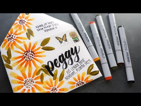 MAIL ART - Copic Sunflowers on Yupo Paper