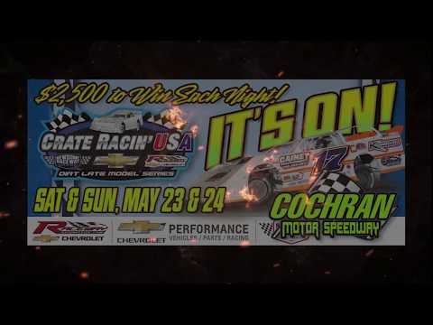 It is almost time for The Crate Racin' USA Dirt Late Model Series, brought to you by the Newsome Raceway Parts Network, to roll in to Cochran Motor Speedway for Memorial Day Weekend - dirt track racing video image