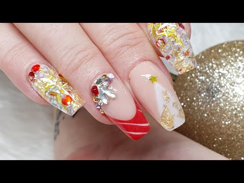Gold Red & White Christmas Acrylic Nails - Geometric Nails - Swarovski Crystals