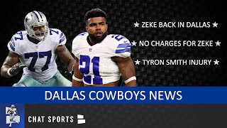 Ezekiel Elliott Back To Dallas, No Charges From Vegas Incident & Tyron Smith Injury | Cowboys News
