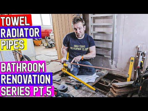 RADIATOR TOWEL HEATER PIPES IN FLOOR - Bathroom Refurbishment Pt 5