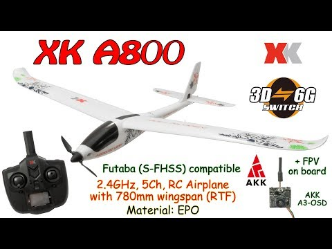 XK A800 2.4GHz, 5Ch, RC Airplane with 780mm wingspan, 3D/6G, Gyro, EPO (RTF) + AKK A3-OSD on board - UC8Pp5wqa4mPIdtAYkGH2Pzw