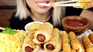 ASMR Eating Cheesy Cheesesticks, Mac N Cheese, Pastry Hot Dogs *No Talking