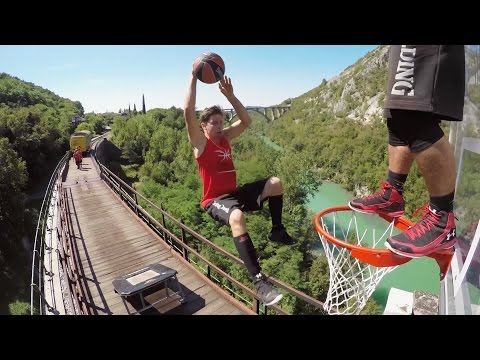 Freestyle Trampoline Slam Dunks on a Train by the Dunking Devils | PEOPLE ARE AWESOME Poster