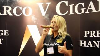 b4ddc0240576 Beautiful Woman Smoking a Marco V King at IPCPR 2012 - YouTube