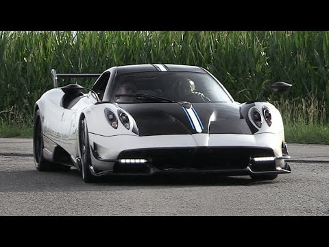 Pagani Huayra BC Accelerations  Spitting Blue Flames On Upshifts!