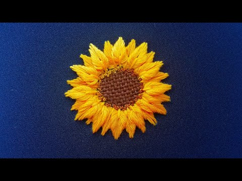 New Design: 3D Embroidery of Sunflower | Buttonhole stitch Double petals
