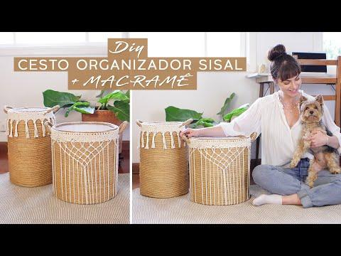 DIY Cesto de Sisal + Macramê!   Decorando o Quarto 02