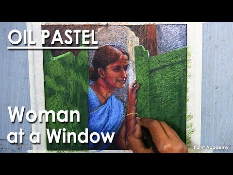Oil Pastel : Woman at a Window-  A Composition Drawing