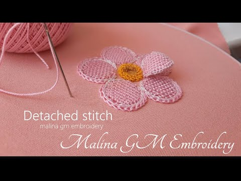 Amazing Pink Flower   Detached stitch   Hand Embroidery   1 part