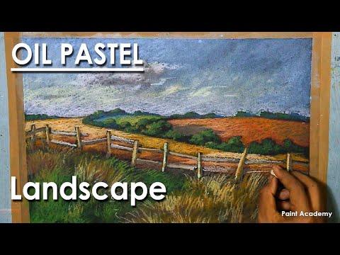 Oil Pastel Drawing : A Vast Rural Landscape