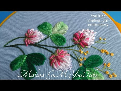 How to embroider clover flowers | in detail Rococo stitch