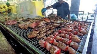 Huge Grill of Brazilian Meat. Italy Street Food Festival