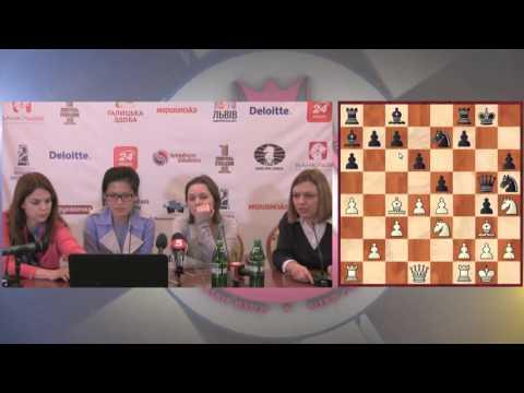 Women's World Chess Championship Match. Round 6 press-conference.