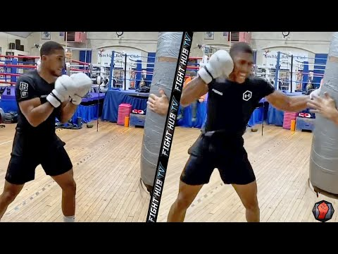 ANTHONY JOSHUA DESTROYING HEAVY BAG TRAINING FOR TYSON FURY! THROWS BRUTAL RIGHT HOOK BOMBS!