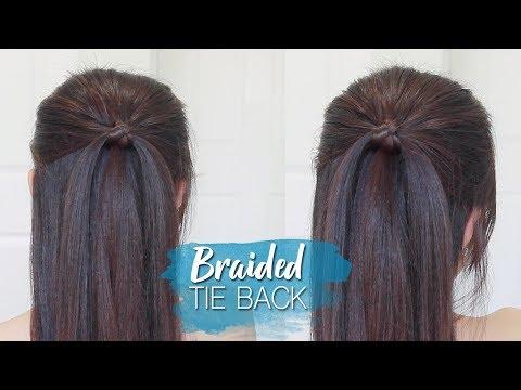 Everyday Braided Tie Back Hairstyle Half Up Half Down Hair