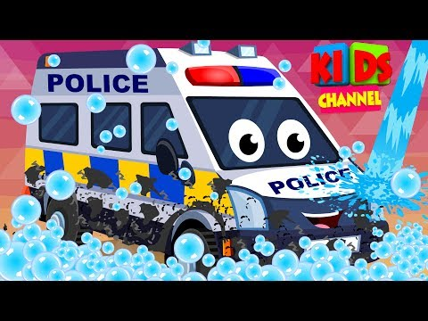 Police Van | Car Wash | Childrens Cartoon | Street Vehicles | Video For Kids