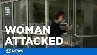 Video captures the moment a woman was attacked outside her home