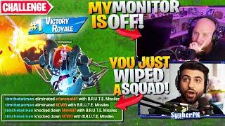 WINNING With NO MONITOR CHALLENGE! ft. TimTheTatMan (Fortnite Battle Royale)
