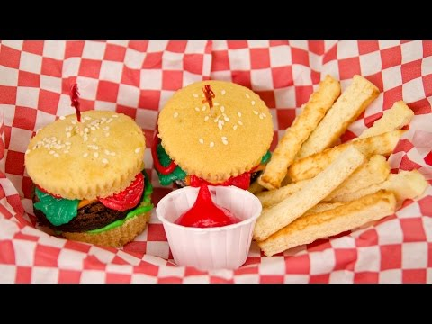 Hamburger Cupcakes and French Fries from Cookies Cupcakes and Cardio - UCg-YSRB6TsIq-c5PUZ0F1Jg