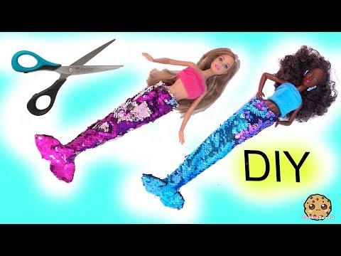 DIY Color Change Glam Barbie Doll Mermaid Tails ! No Sew Easy Craft - default