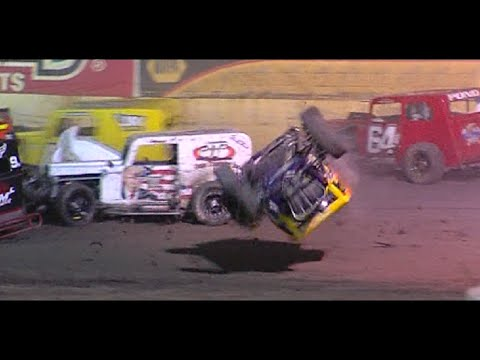 Ronnie Williams upside down openin lap of Veterans A-main - dirt track racing video image