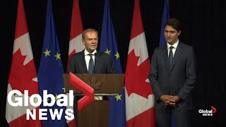 Canada's Justin Trudeau, EU's Donald Tusk talk trade and Toronto Raptors
