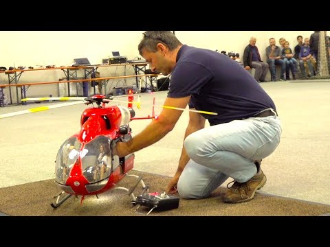 SUPER BIG RC TURBINE HELICOPTER INDOOR FLIGHT I EC-145 RESCUE HELI I MESSE RIED - UCXjZurGqjCbZW9kRpjn7Rkw