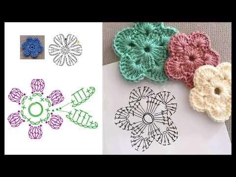 Простые цветочные мотивы крючком схемы для вязания