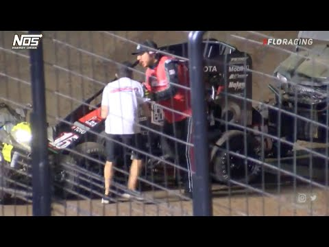 Late Race Controversy Between Leaders   USAC National Midgets - dirt track racing video image