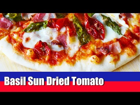 Basil Bacon Sun Dried Tomato Pizza - Quick and Easy to make Homemade Pizza - How to Pizza Recipe