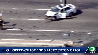 High-speed chase ends in crash on Stockton roadway; officials say 3 people were injured