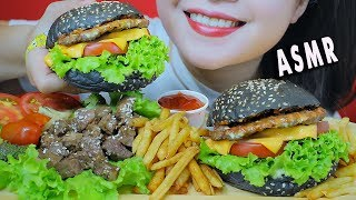 ASMR BLACK BEEF HAMBURGER AND KOREAN BEEF STEAK , CHEWY EATING SOUNDS | LINH-ASMR