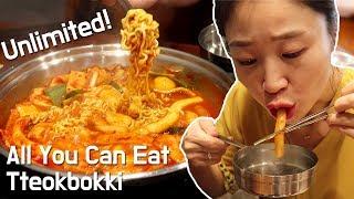 All You Can Eat Unlimited Tteokbokki Buffet in Korea Dookki Vegeterian food