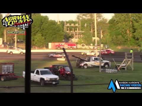 Norman County Raceway IMCA Hobby Stock Races (6/3/21) - dirt track racing video image