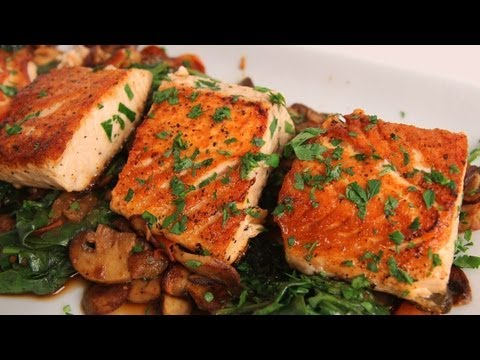 Seared Salmon with Sauteed Spinach and Mushrooms - Laura Vitale - Laura in the Kitchen Ep 323 - UCNbngWUqL2eqRw12yAwcICg