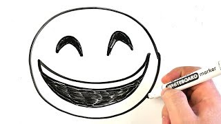 How to Draw Emoji Grinning Face With Smiling Eyes 😁 Easy Drawing on a Whiteboard