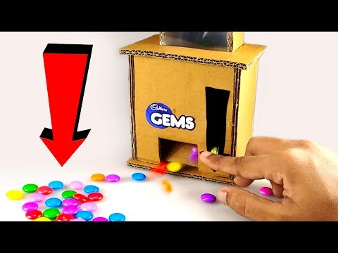 How to make a GEMS CANDY Dispenser Machine from CARDBOARD   DIY at HOME - default
