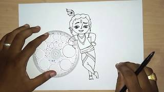 How to draw lord little Krishna drawing for kids | krishna jayanthi drawing