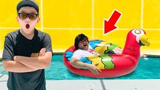 The Sketchy Pool Encounter Nerf Showdown with Scratchy and the police kid pretend play