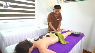 Place Hot Stones for Back Massage Pain Relief