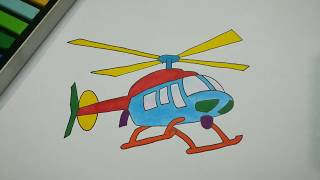 HOW TO DRAW HELICOPTER STEP BY STEP l EASY DRAWING TUTORIAL