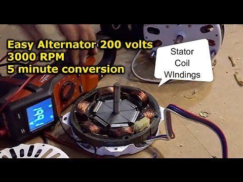 Easy Alternator from electric motor conversion DIY neodymium magnet install