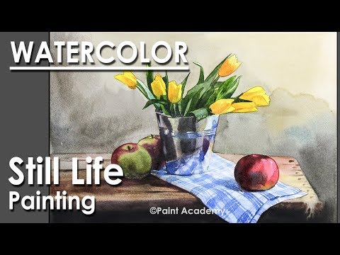 Painting A Realistic Still Life in Watercolor : Flower vase & Apples | Episode-4