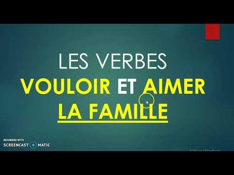 Verbe aimer et vouloir en français avec le vocabulaire LA FAMILIA.