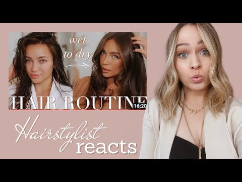 Hairstylist reacts to top HAIR ROUTINE - Kayley Melissa